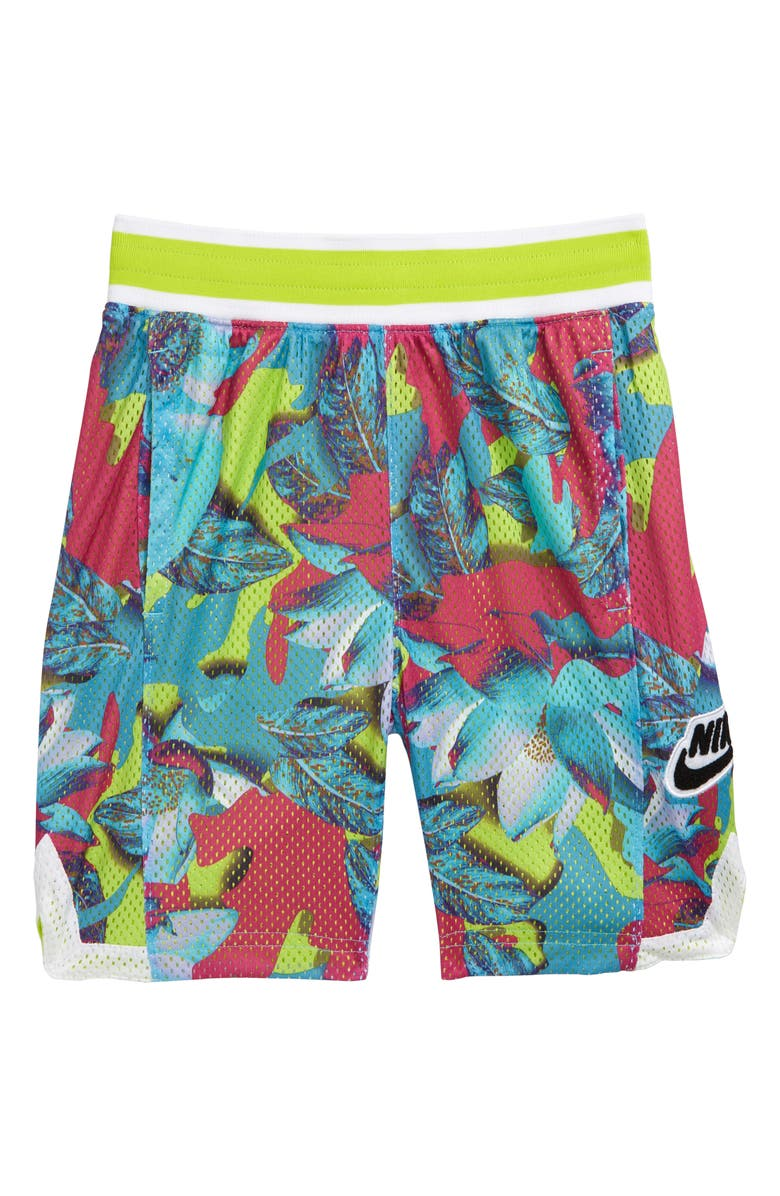 NIKE Dri-FIT Hoopfly Print Athletic Shorts, Main, color, LASER FUCHSIA / CYBER