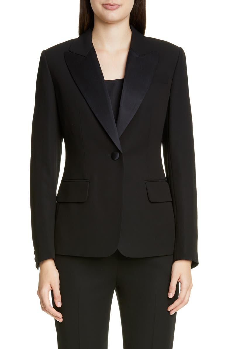 ST. JOHN COLLECTION Duchesse Satin Trim Tuxedo Jacket, Main, color, CAVIAR