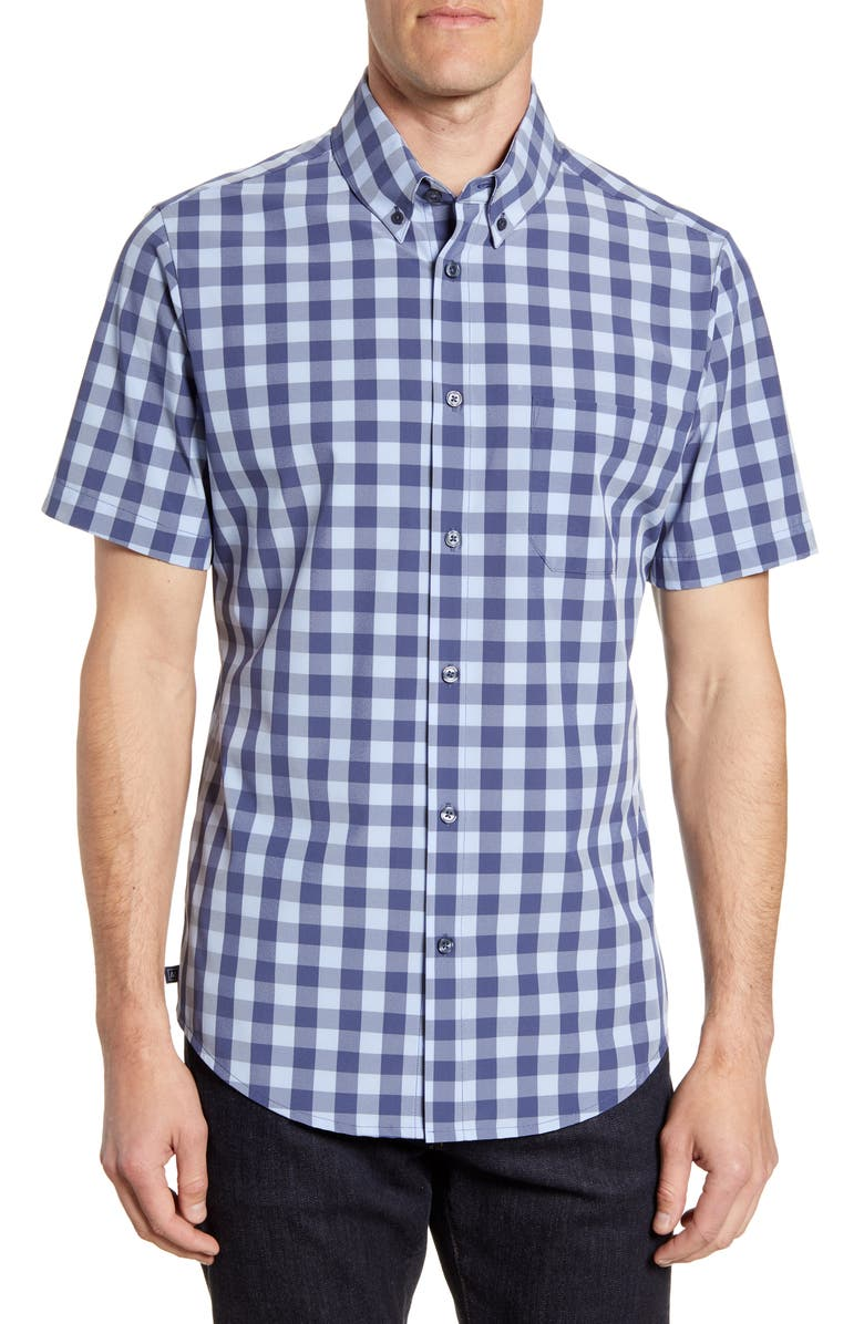 MIZZEN+MAIN Scout Check Short Sleeve Button-Down Performance Shirt, Main, color, BLUE
