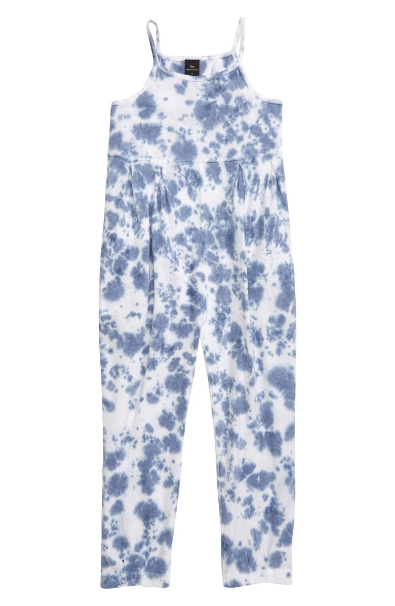 SOMETHING NAVY Tie Dye Jumpsuit, Main, color, 100