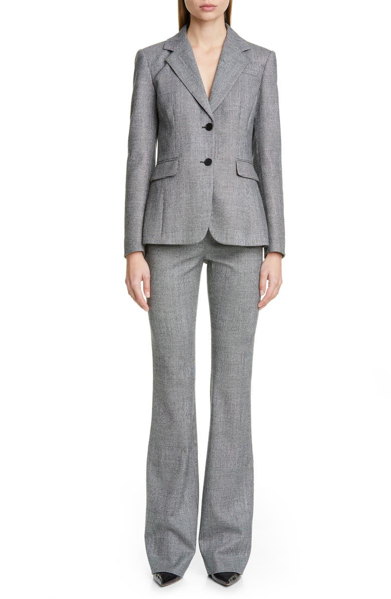 ALTUZARRA Fenice Glen Plaid Stretch Wool Blazer, Main, color, BLACK/ WHITE