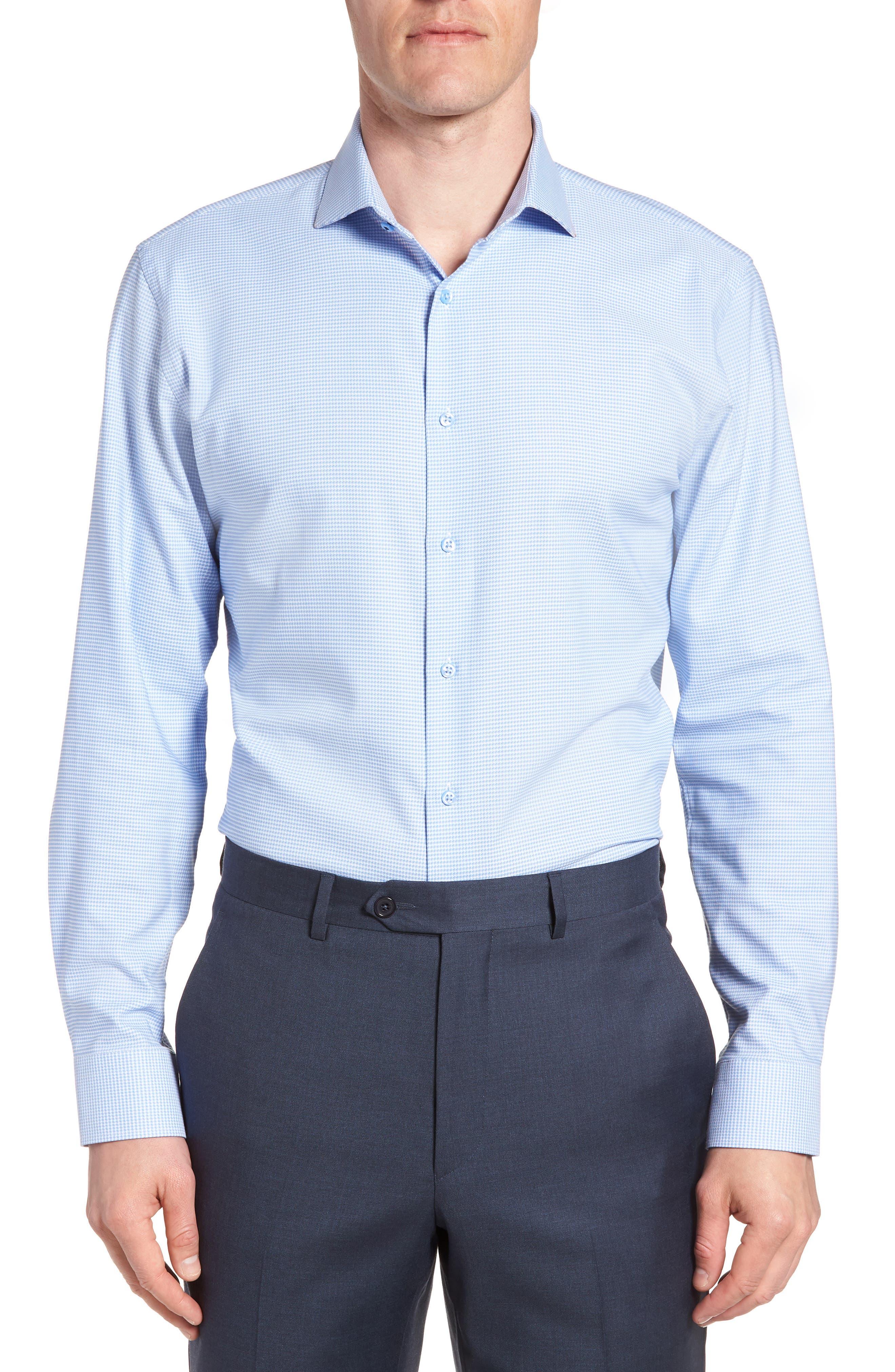 Tech-Smart Trim Fit Stretch Texture Dress Shirt, Main, color, BLUE HYDRANGEA