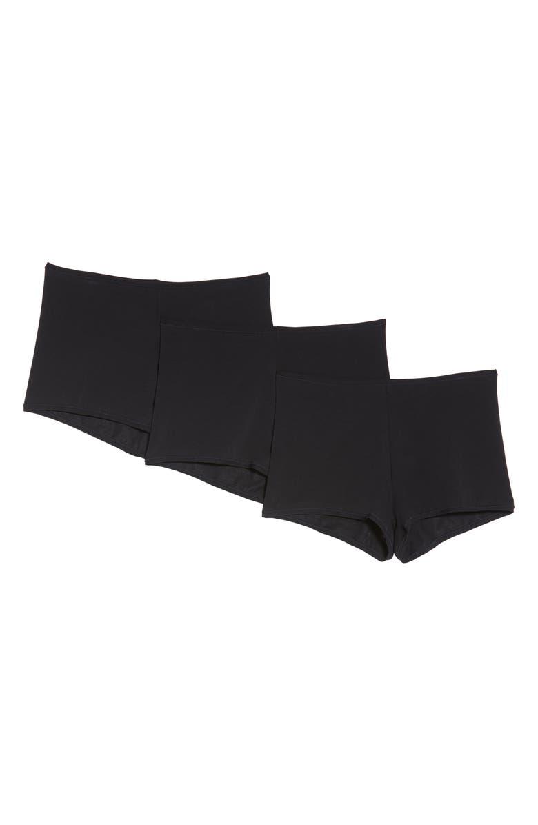 NATORI Bliss Comfort 3-Pack Boyshorts, Main, color, BLACK