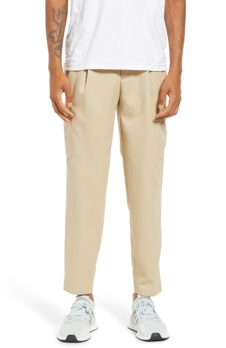 TOPMAN Men's Tapered Cargo Pants, Main, color, STONE
