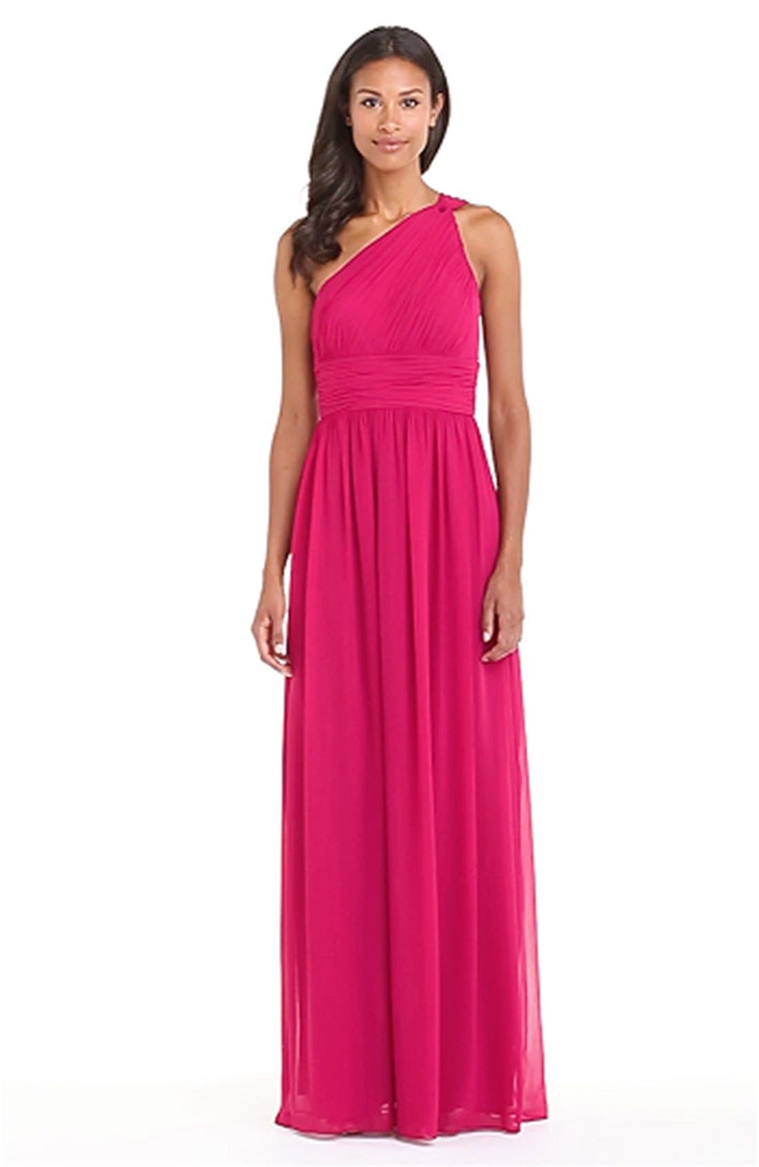 ,                             'Rachel' Ruched One-Shoulder Chiffon Gown,                             Alternate thumbnail 103, color,                             649