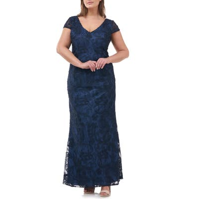 Plus Size Js Collections Soutache Embroidered V-Neck Trumpet Gown, Blue
