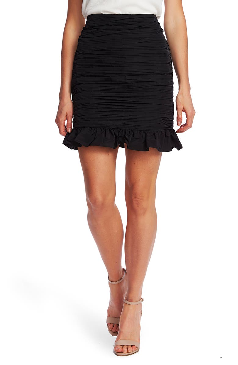 CECE Ruffle Hem Taffeta Miniskirt, Main, color, RICH BLACK