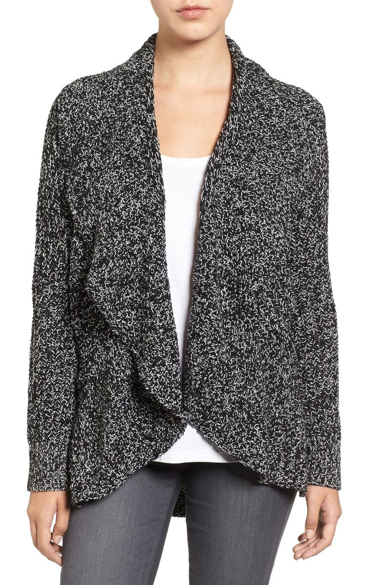 CHAUS Cable Stitch Drape Front Cardigan, Main, color, 005