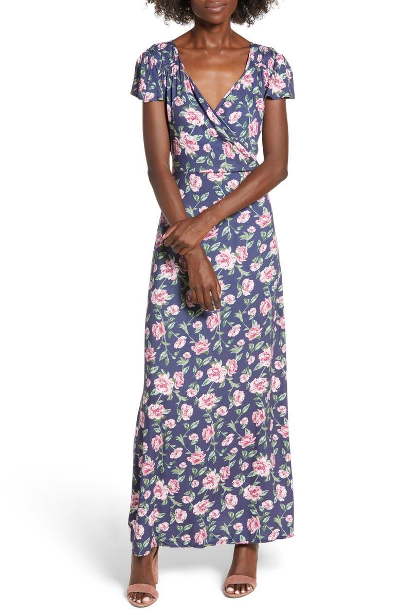 ROW A Floral Maxi Dress, Main, color, NAVY FLORAL