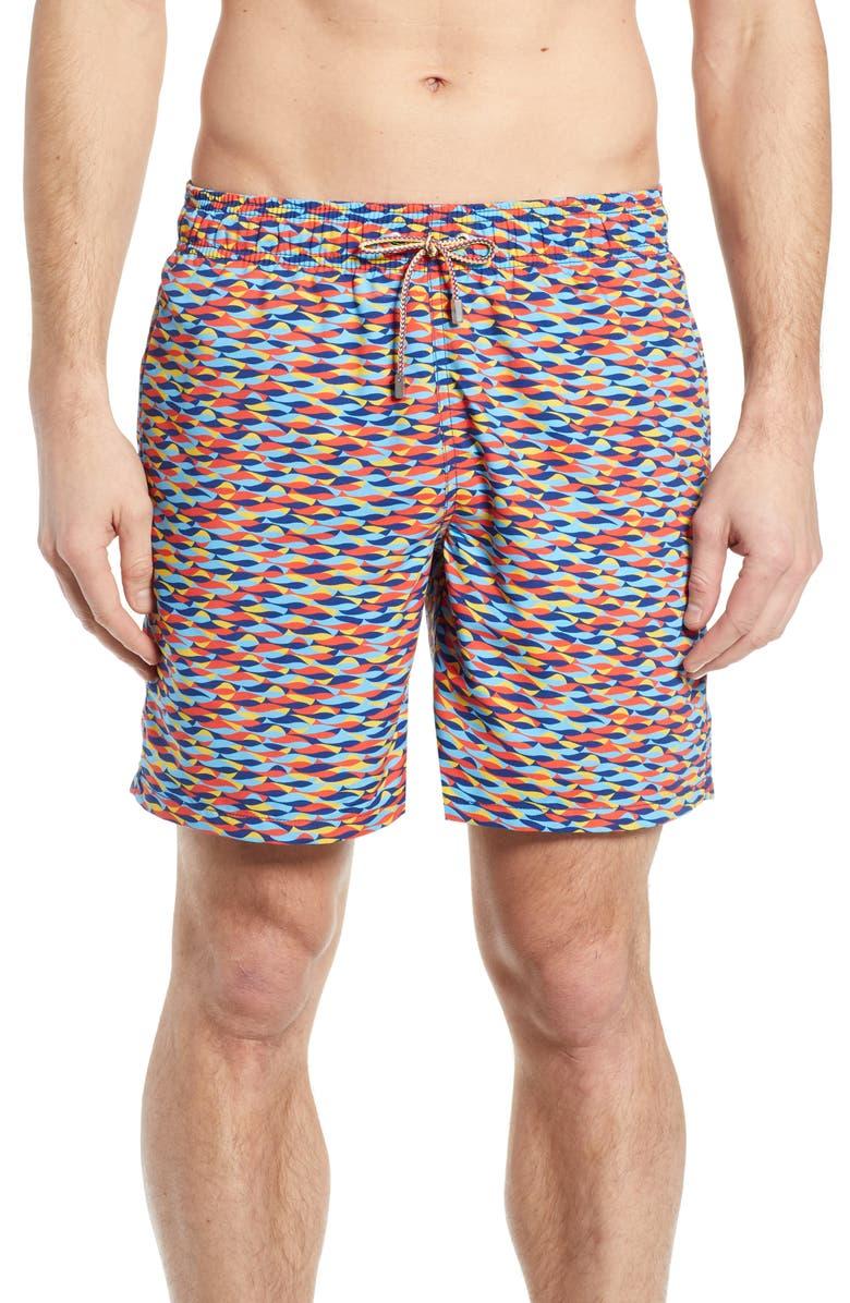 BUGATCHI Print Swim Trunks, Main, color, CORAL