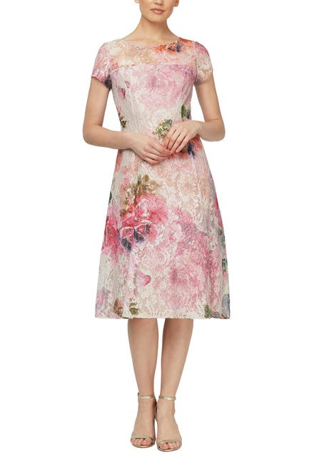 Image of SLNY Floral Cap Sleeve Midi Dress