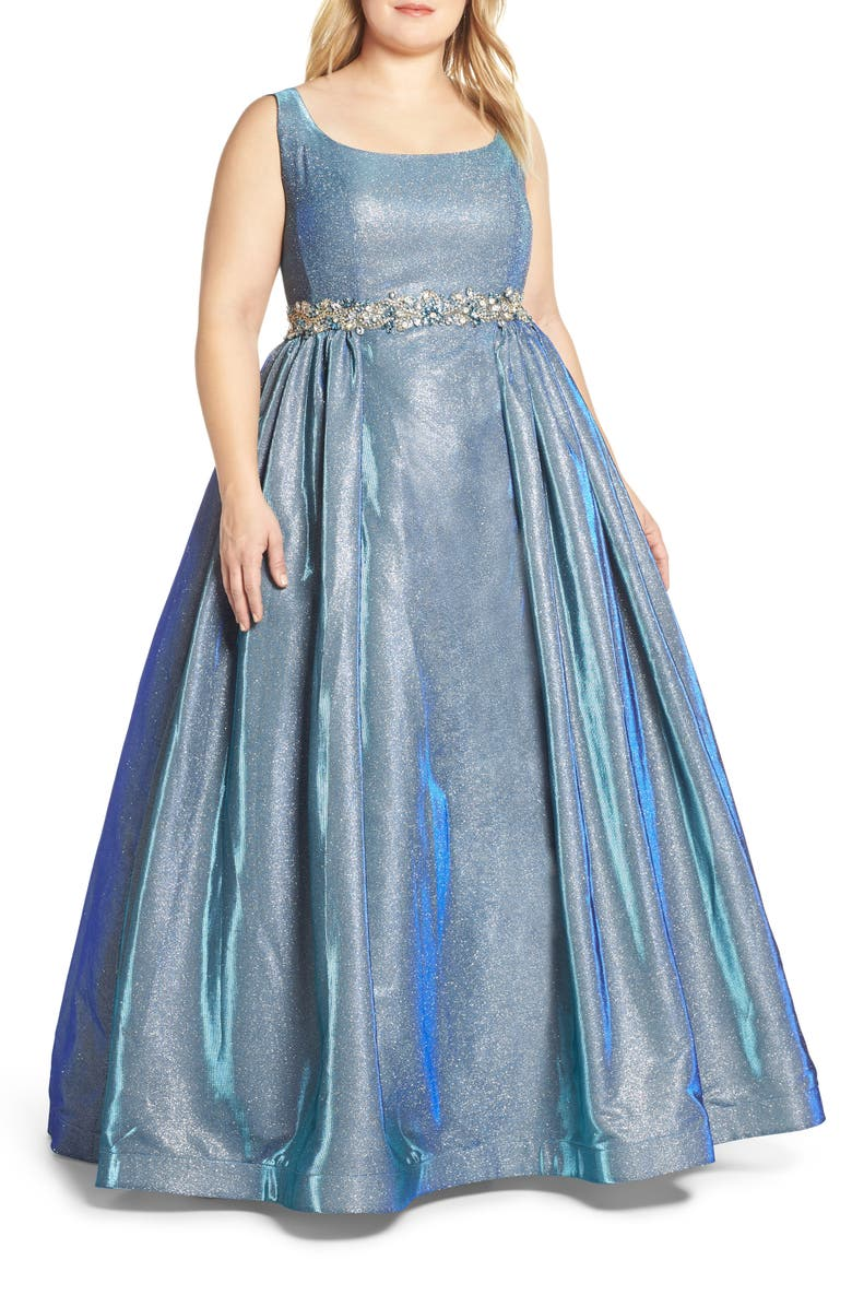 Jeweled Waist Metallic Evening Dress