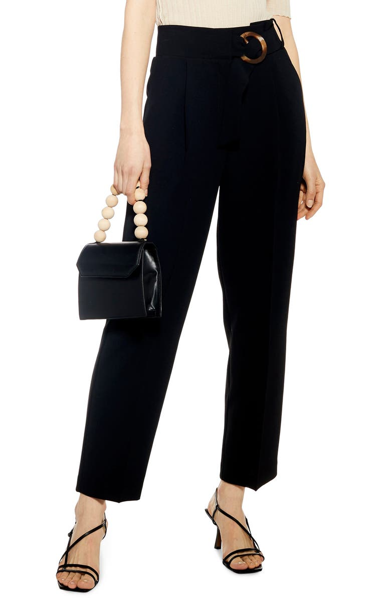 TOPSHOP Wilma Belted Peg Tapered Trousers, Main, color, BLACK