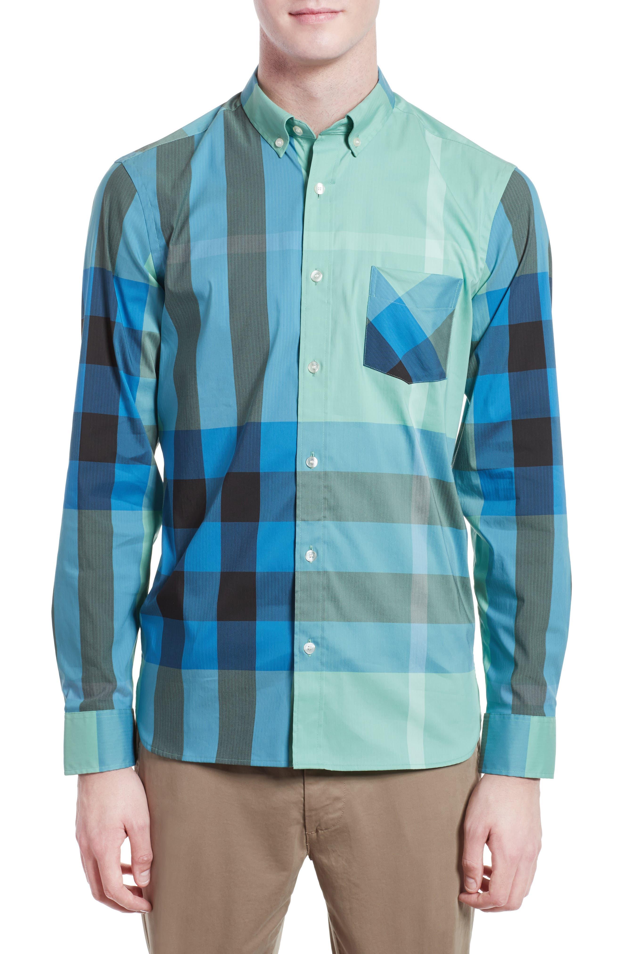 ,                             Thornaby Slim Fit Plaid Sport Shirt,                             Main thumbnail 34, color,                             453