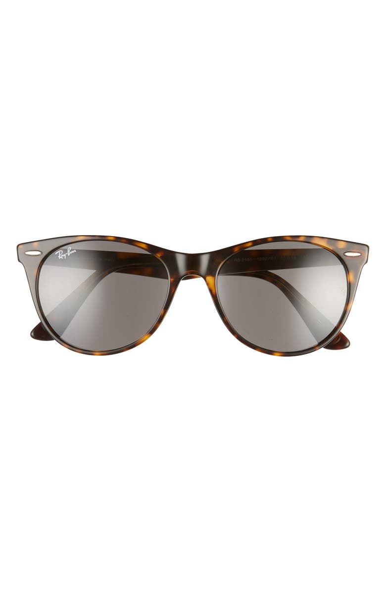 RAY-BAN 55mm Round Wayfarer Sunglasses, Main, color, HAVANA/ DARK GREY SOLID