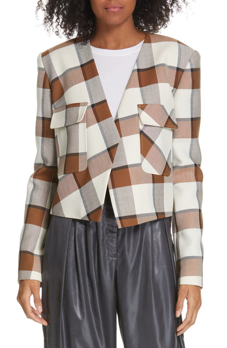TIBI Dylan Plaid Crop Jacket, Main, color, IVORY MULTI