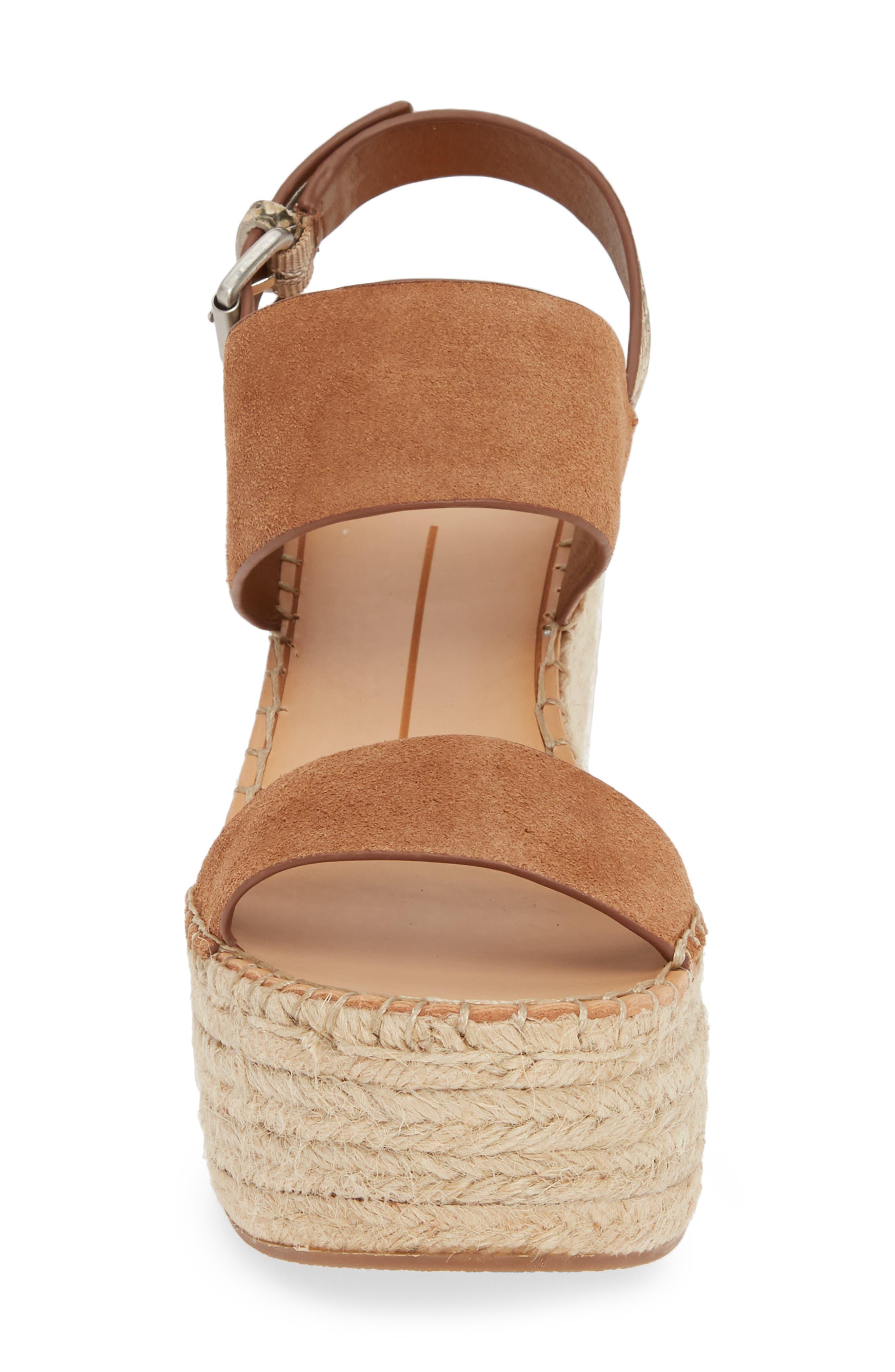 ,                             Spiro Platform Wedge Sandal,                             Alternate thumbnail 4, color,                             BROWN SUEDE