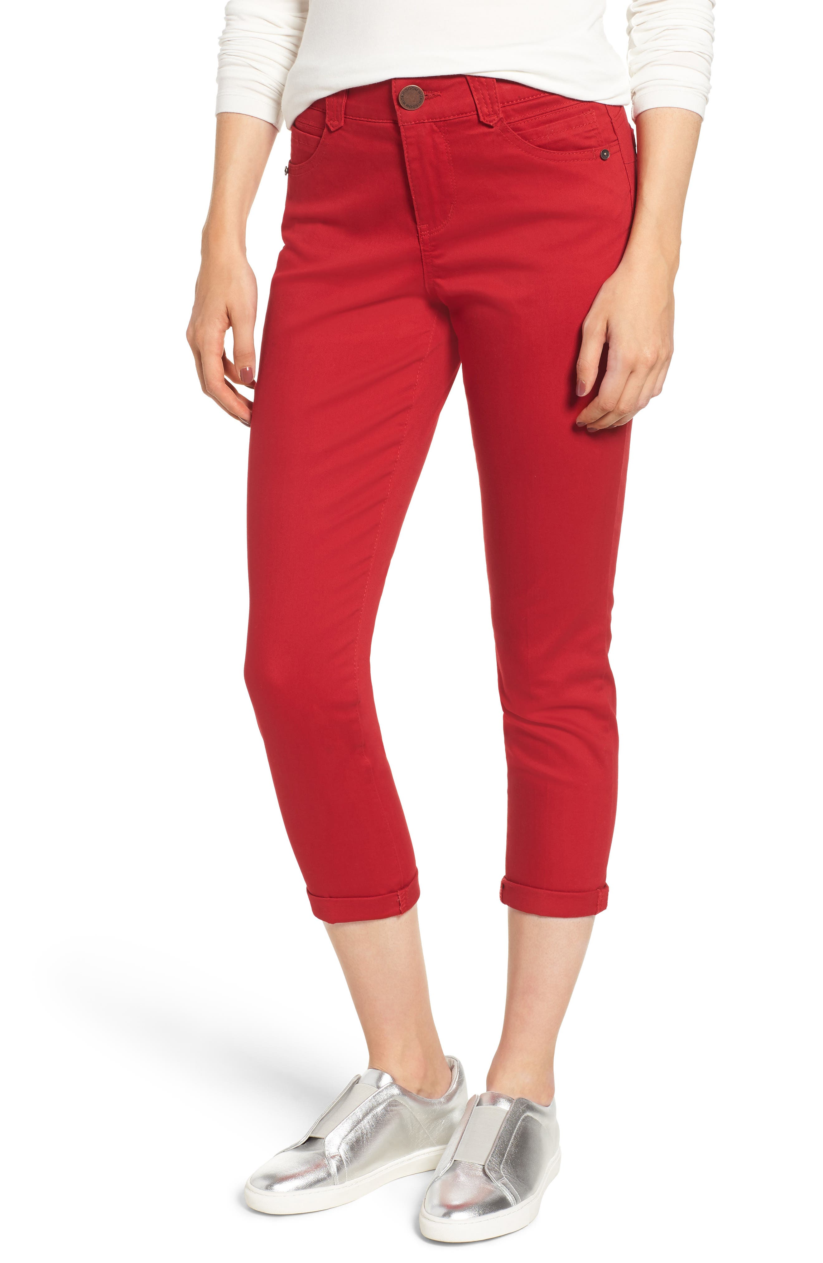 Roll up in casual color wearing these slim pants designed with \\\'Ab-solution\\\' powermesh panels to mold and hold so you look all-day excellent. Style Name: Wit & Wisdom Ab-Solution Crop Skinny Pants (Nordstrom Exclusive) (Regular & Petite). Style Number: 5672519. Available in stores.