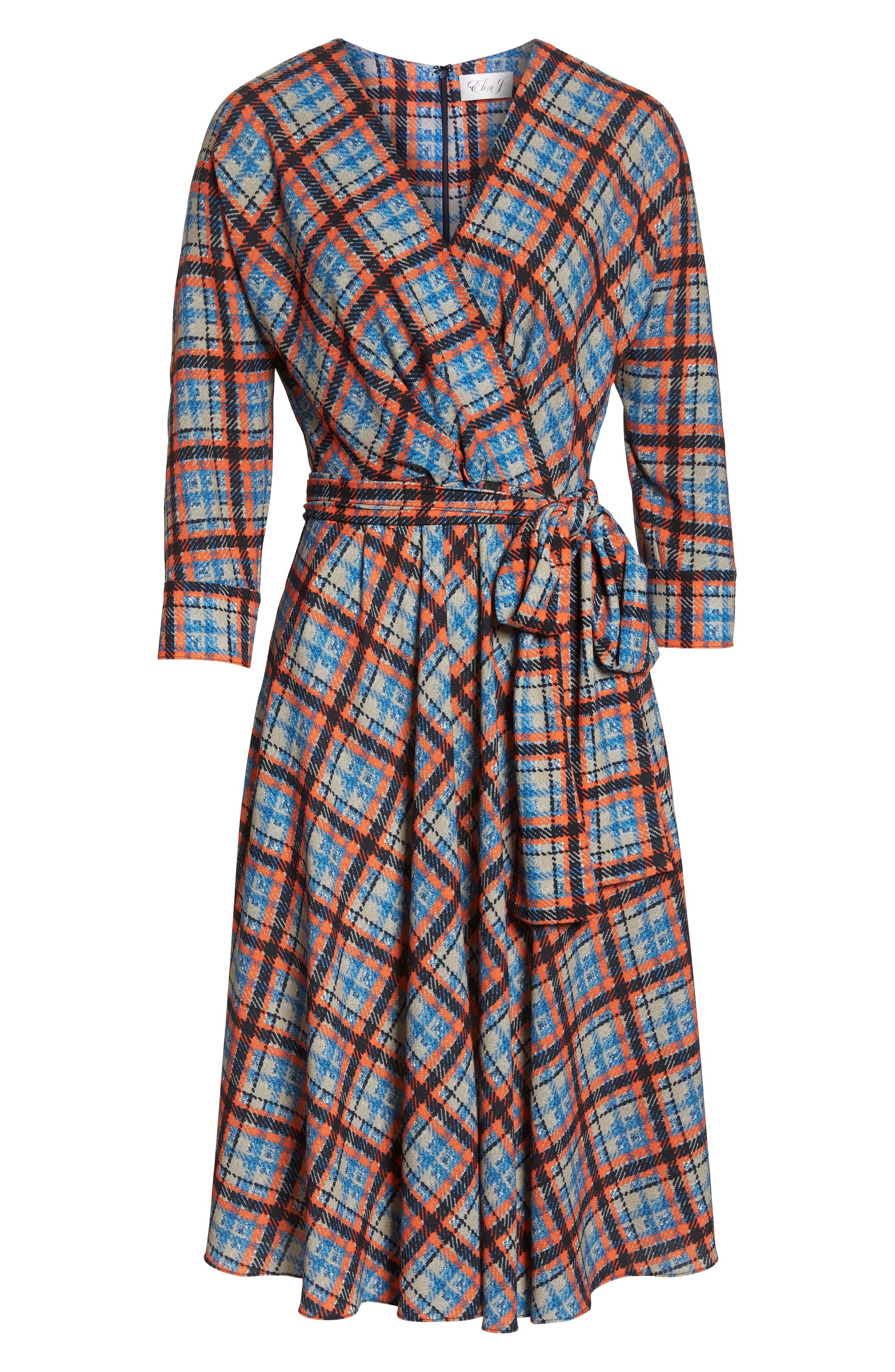 ,                             Plaid Faux Wrap Dress,                             Alternate thumbnail 8, color,                             810