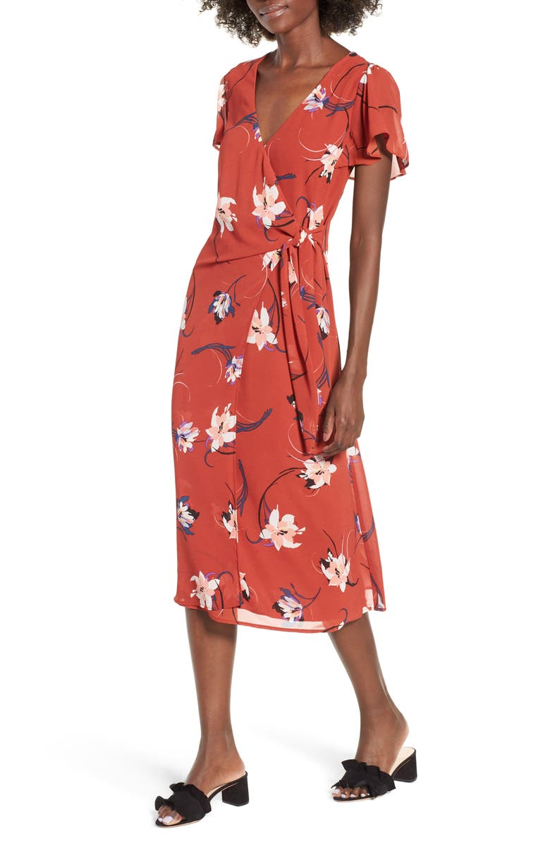 ROW A Floral Surplice Midi Dress, Main, color, 200