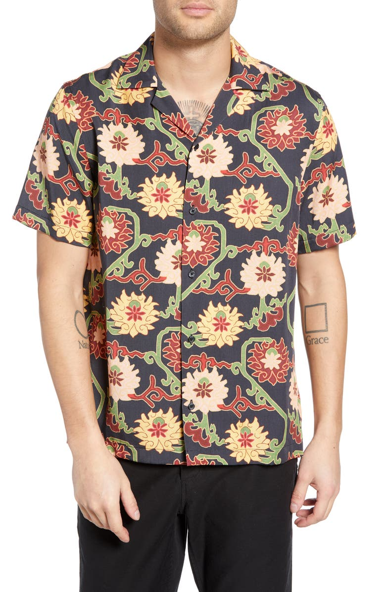 SATURDAYS NYC Canty Peony Camp Shirt, Main, color, 401