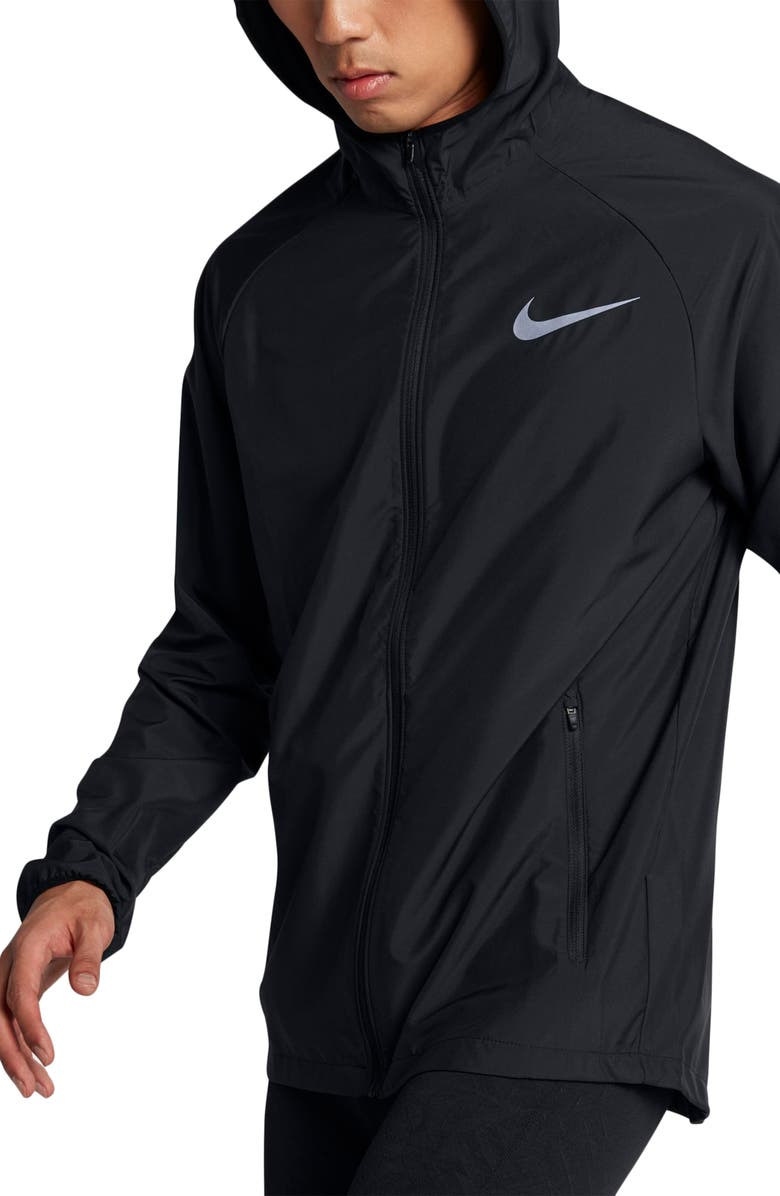 NIKE Essential Hooded Jacket, Main, color, BLACK