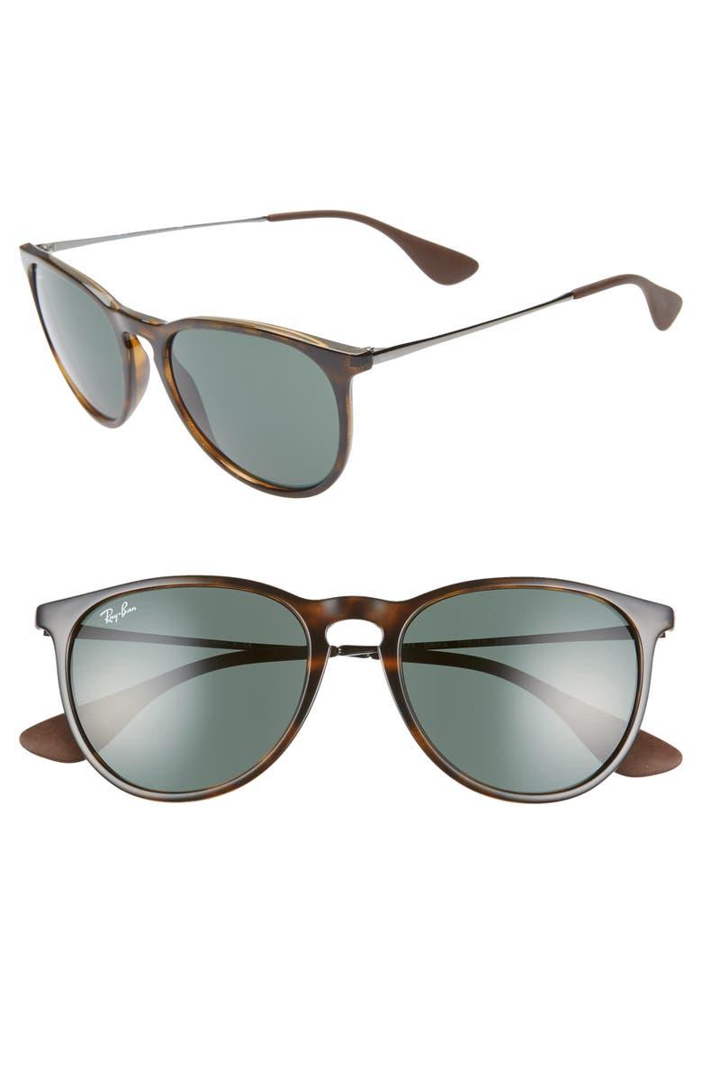 RAY-BAN Erika Classic 54mm Sunglasses, Main, color, LITE HAVANA/ GREEN SOLID