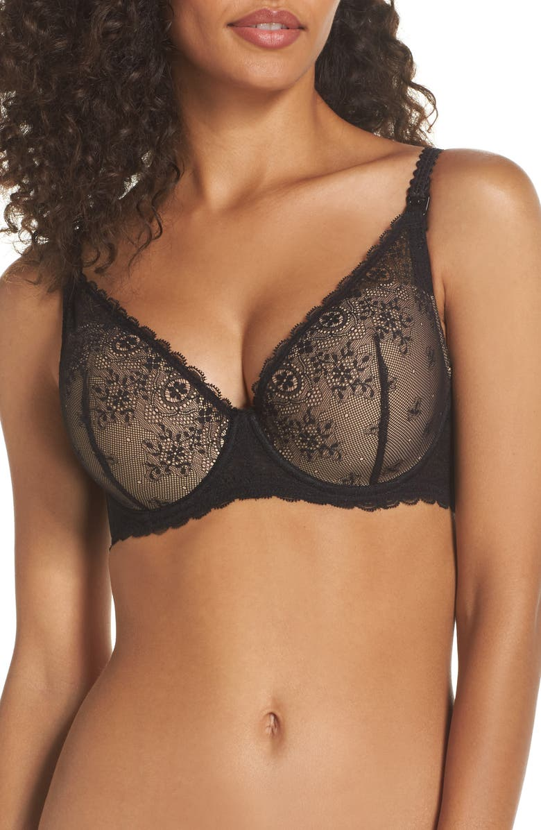 LE MYSTÈRE Sexy Mama Underwire Nursing Bra, Main, color, BLACK/NATURAL
