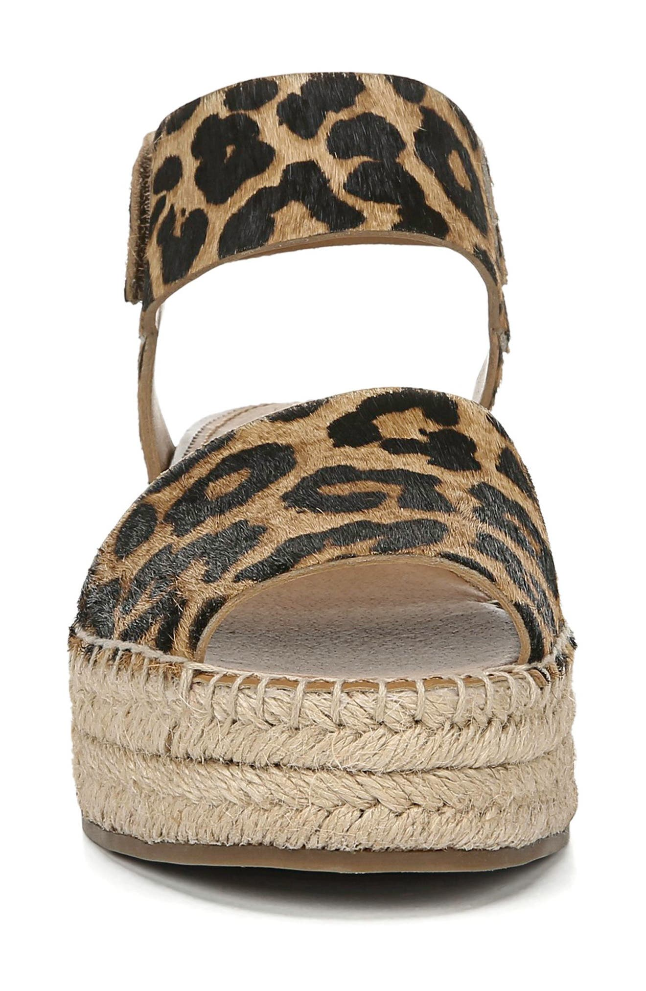 ,                             Oak Genuine Calf Hair Platform Wedge Espadrille,                             Alternate thumbnail 4, color,                             LEOPARD PRINT CALF HAIR