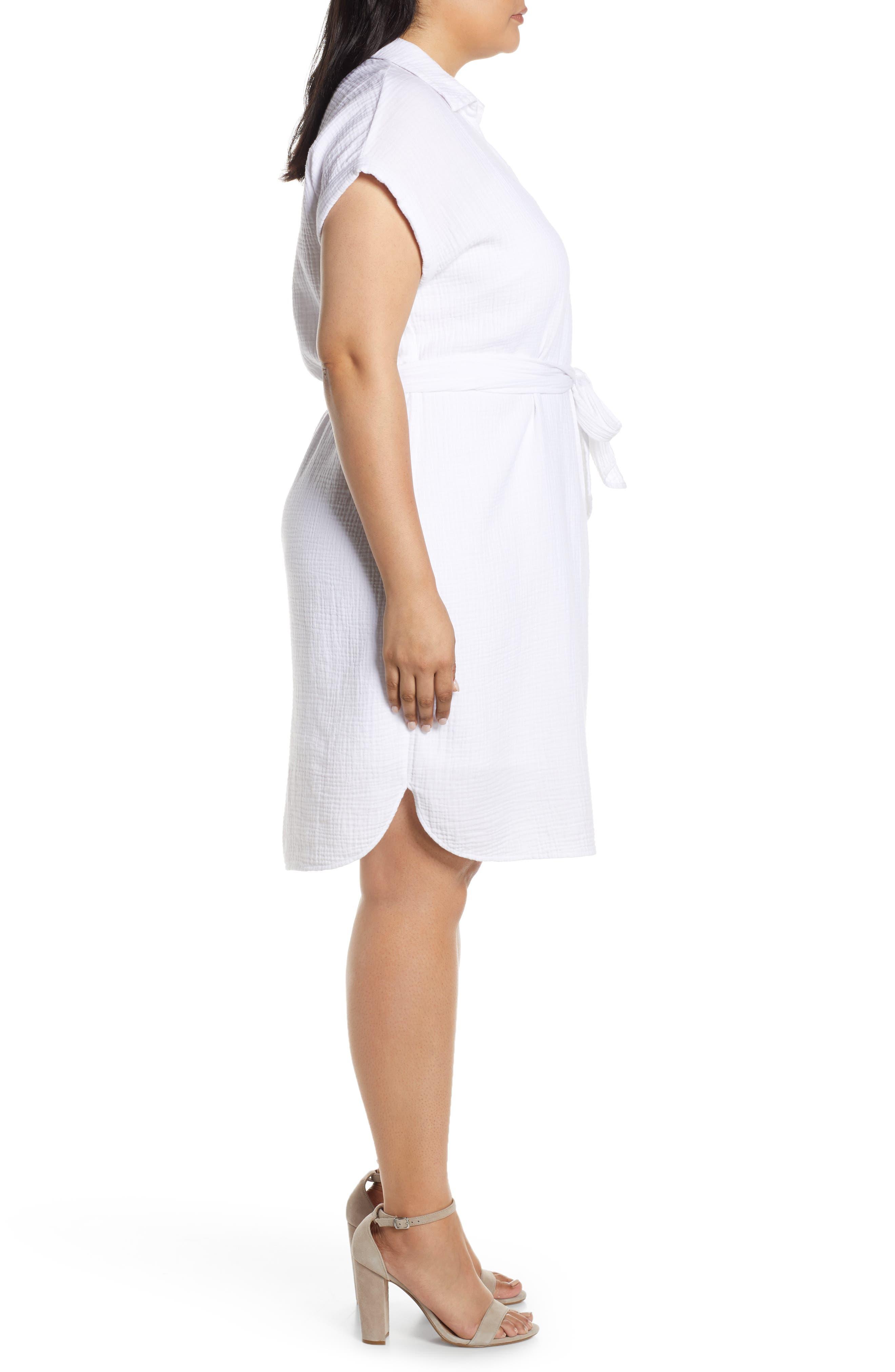 ,                             Asymmetrical Button Down Shirtdress,                             Alternate thumbnail 3, color,                             145 ULTRA WHITE