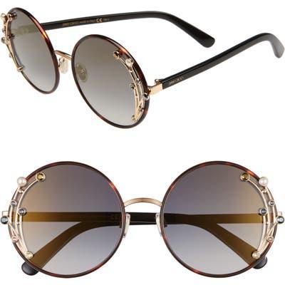 Jimmy Choo Gema 5m Round Sunglasses - Dark Havana/ Grey Gold