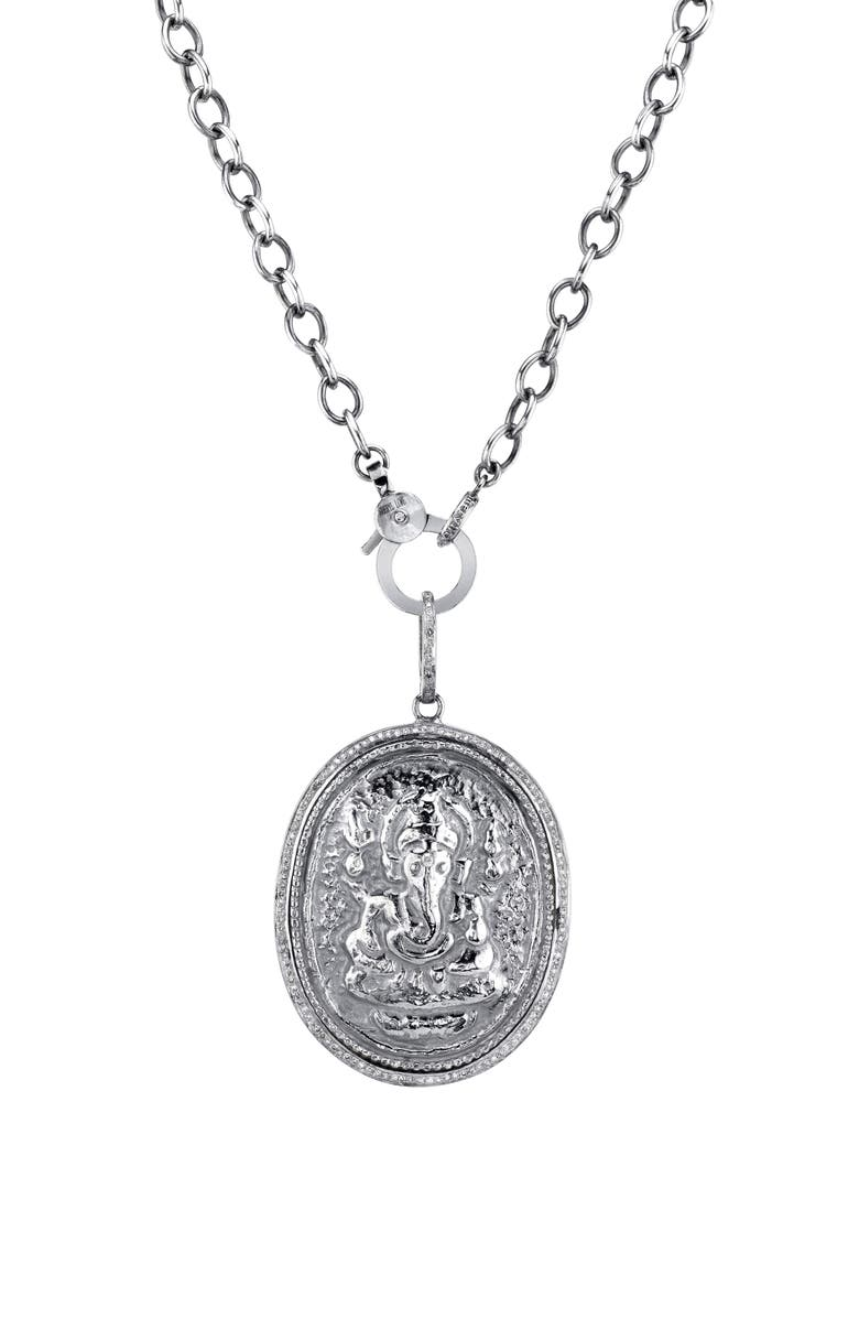 SHERYL LOWE Ganesh Coin Pendant Necklace, Main, color, STERLING SILVER