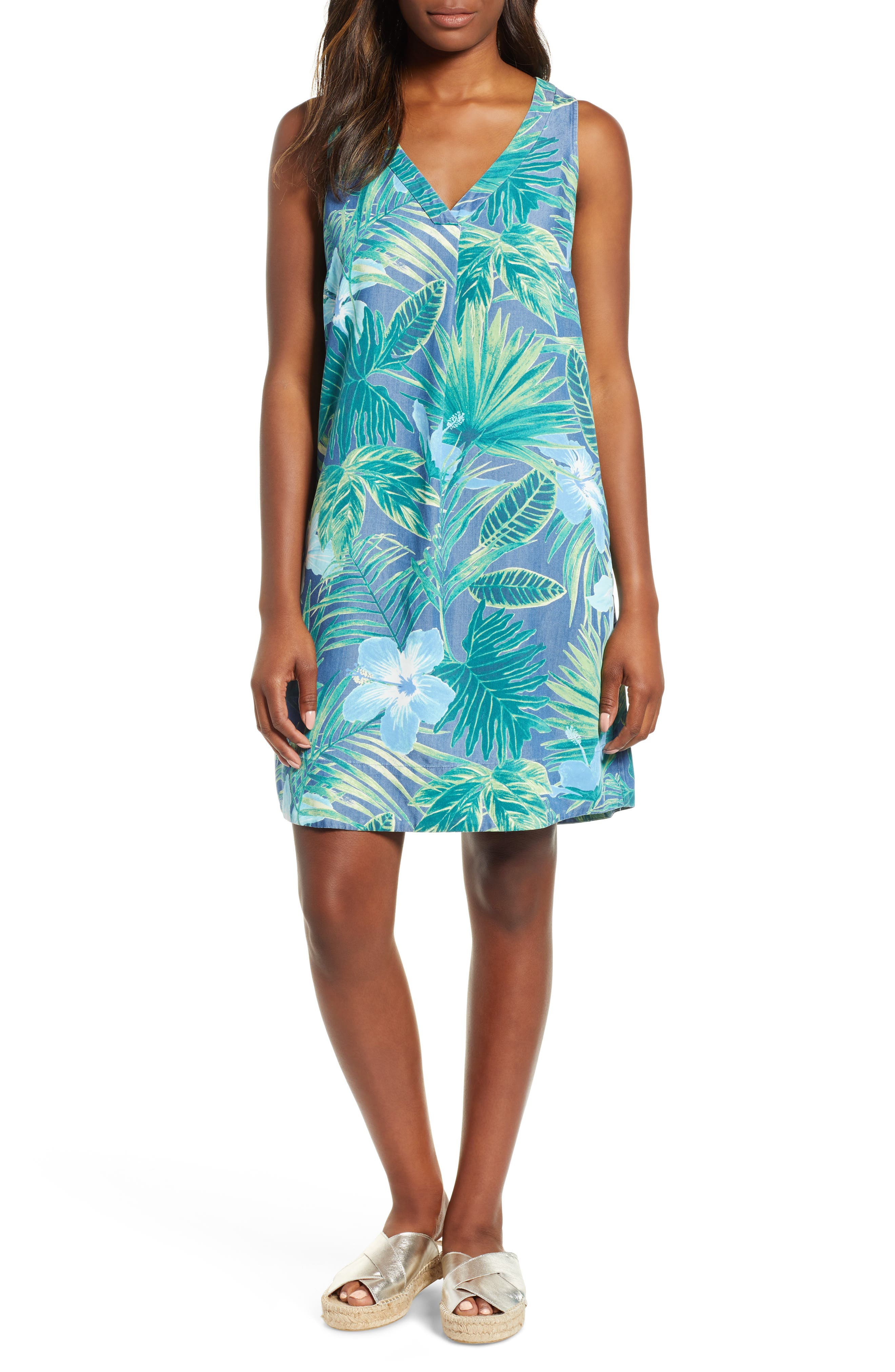 Tommy Bahama Kayo Blossoms Chambray Shift Dress, Blue