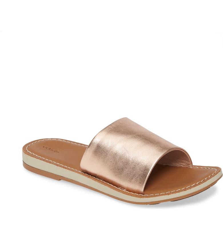 OLUKAI Nohie 'Olu Slide Sandal, Main, color, ROSE GOLD LEATHER