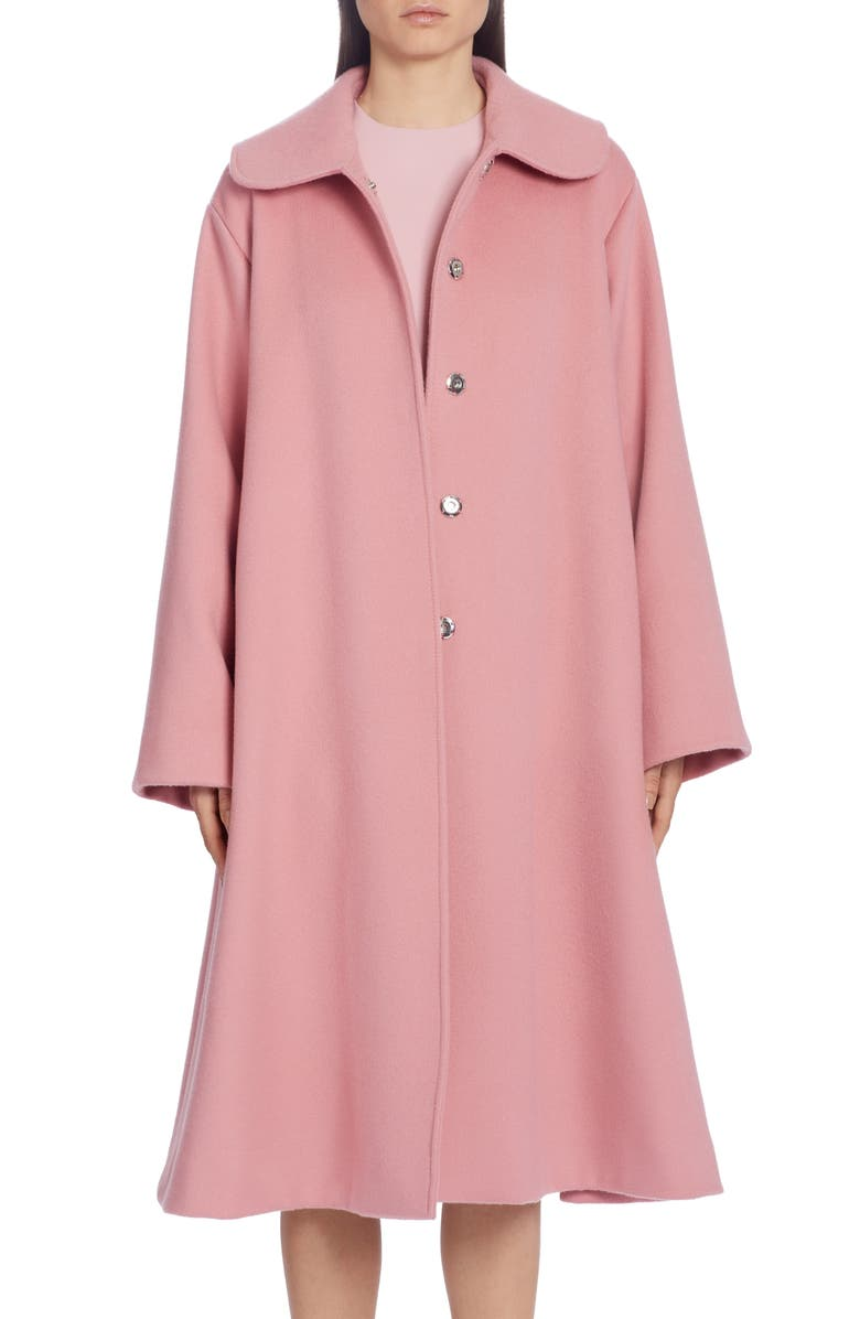 DOLCE&GABBANA Belted Woolen A-Line Coat, Main, color, PINK