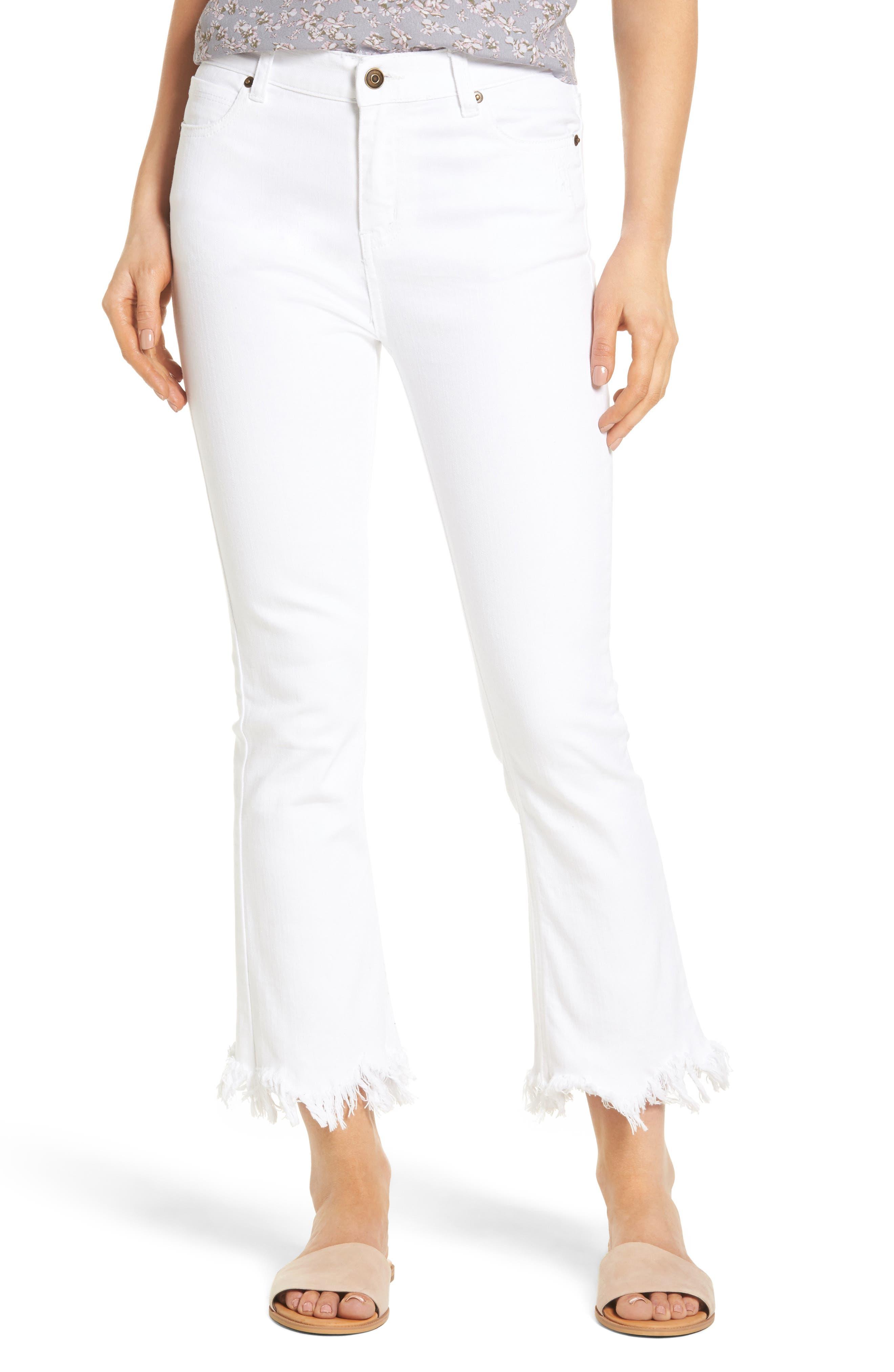 ,                             Frayed Hem High Rise Crop Jeans,                             Main thumbnail 7, color,                             100