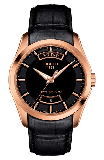 Image of Tissot Men's Couturier Powermatic 80 Leather Strap Watch, 39mm