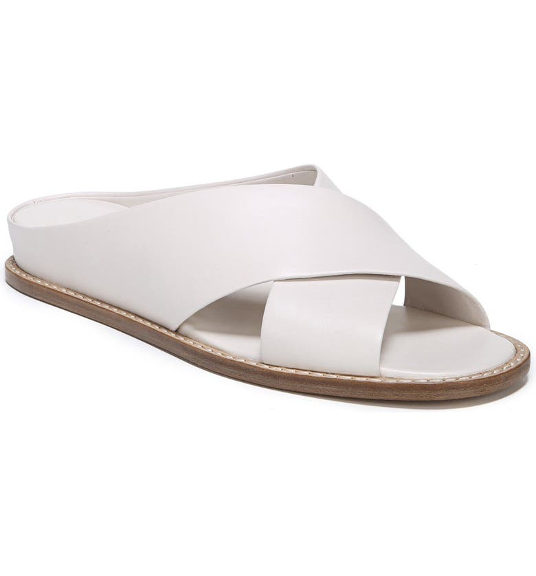 VINCE Fairley Cross Strap Sandal, Main, color, OFF WHITE LEATHER