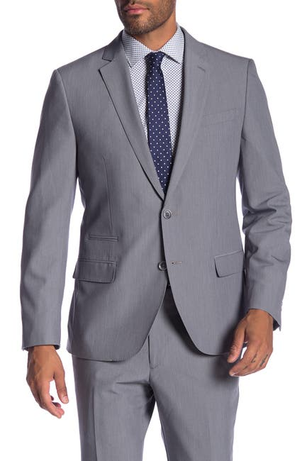 Image of SAVILE ROW CO Avedon Grey Two Button Notch Lapel Slim Fit Bi-Stretch Suit Separate Jacket