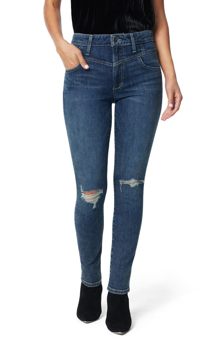 JOE'S The Charlie Shredded High Waist Skinny Jeans, Main, color, MUSTANG