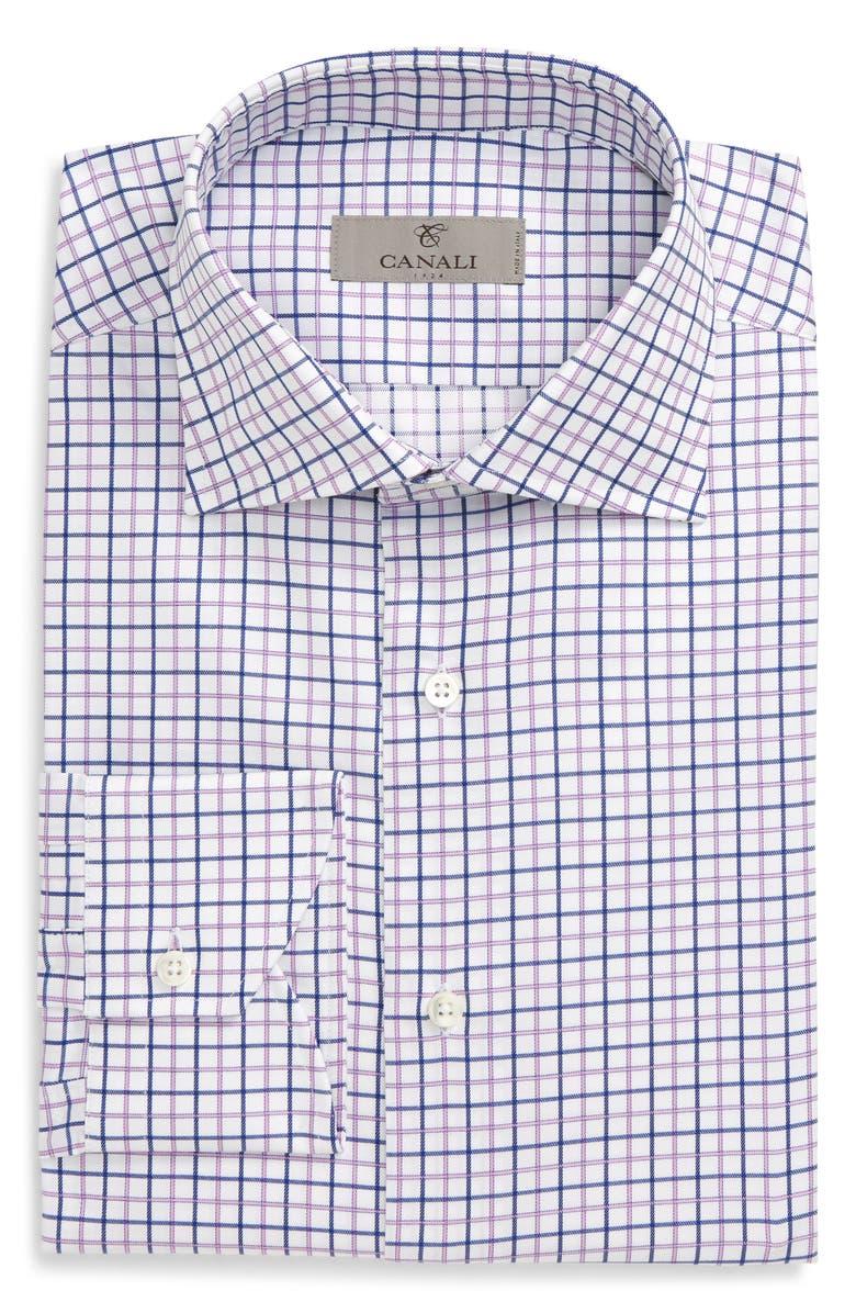 CANALI Slim Fit Check Dress Shirt, Main, color, PINK