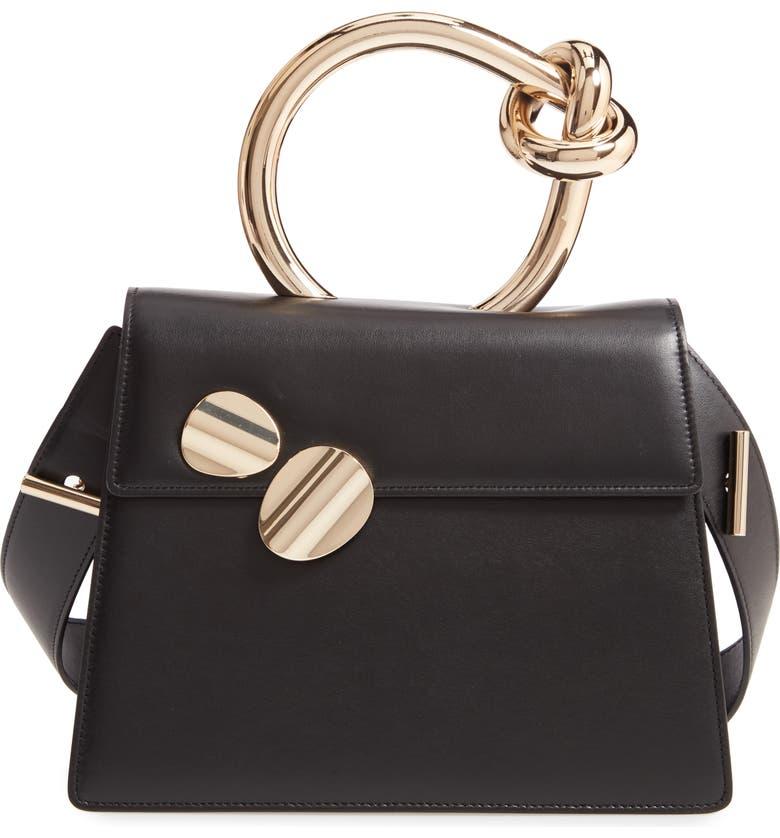 BENEDETTA BRUZZICHES Big Brigitta Leather Top Handle Satchel, Main, color, BLACK