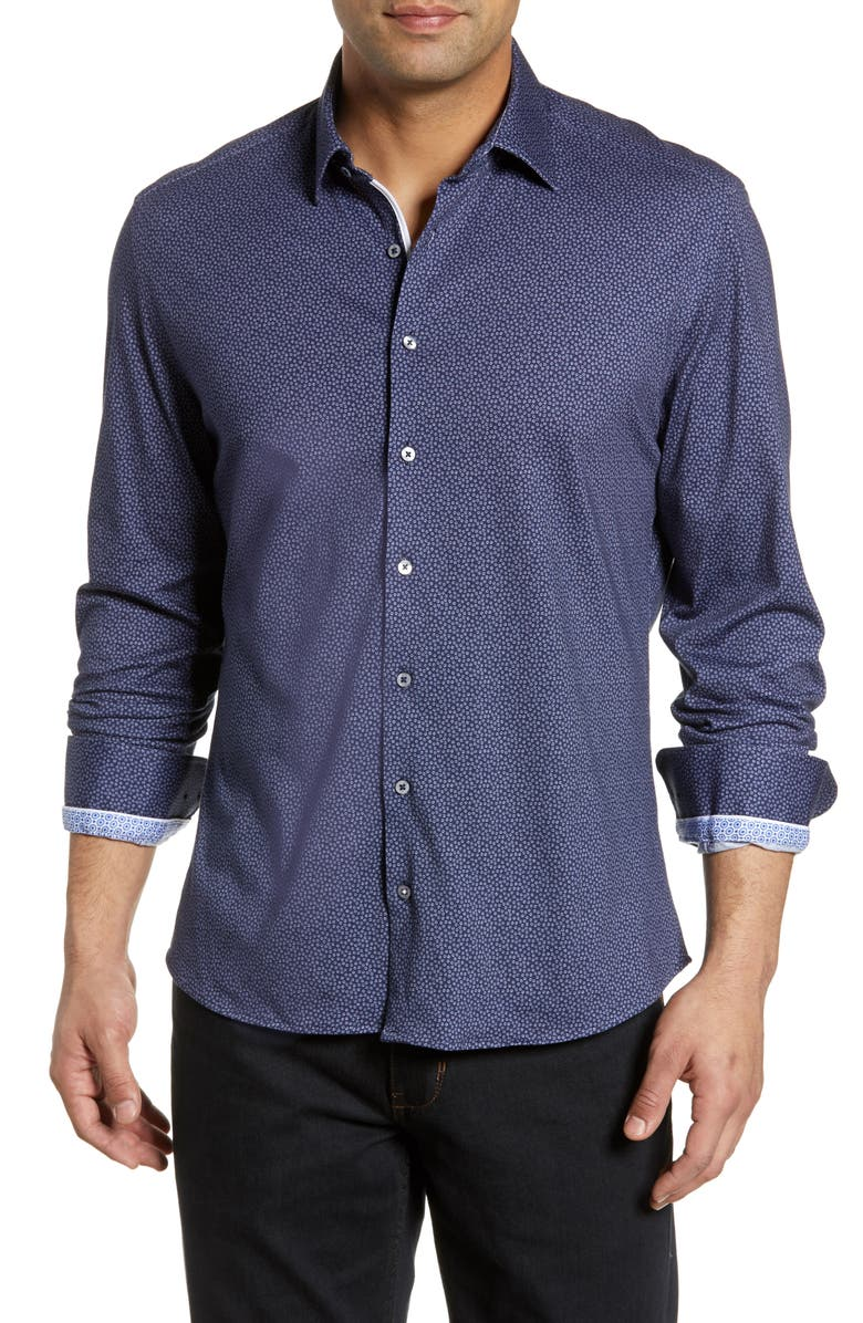 STONE ROSE Regular Fit Micro Floral Knit Shirt, Main, color, NAVY