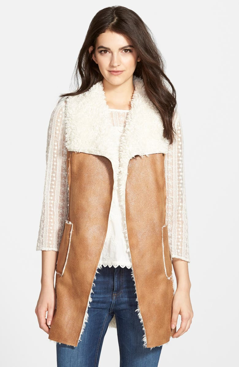 ELLA MOSS Faux Shearling Vest, Main, color, 250