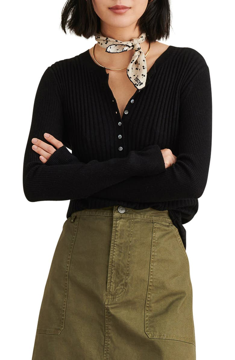 ALEX MILL Wool Blend Henley Sweater, Main, color, BLACK