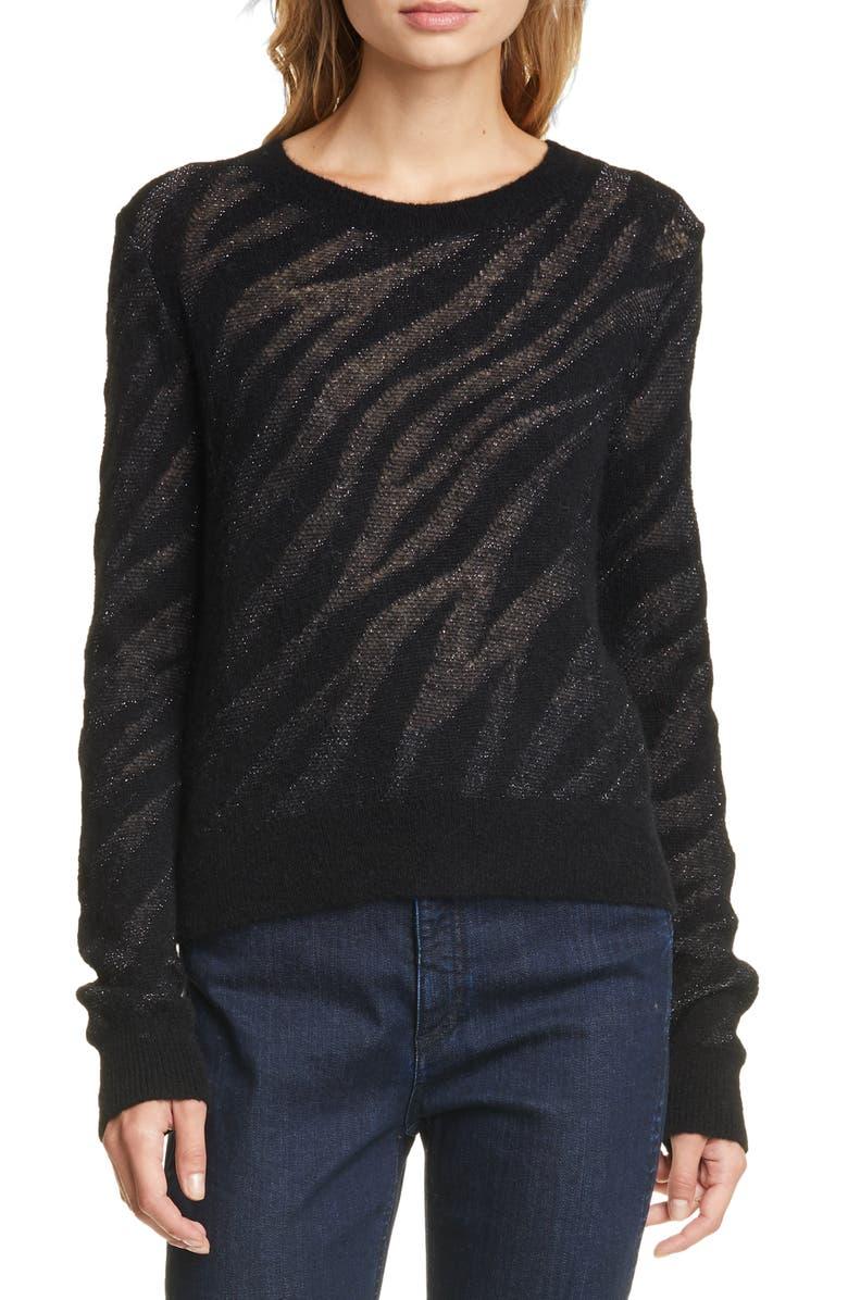 RAG & BONE Germain Metallic Zebra Jacquard Sweater, Main, color, BLACK