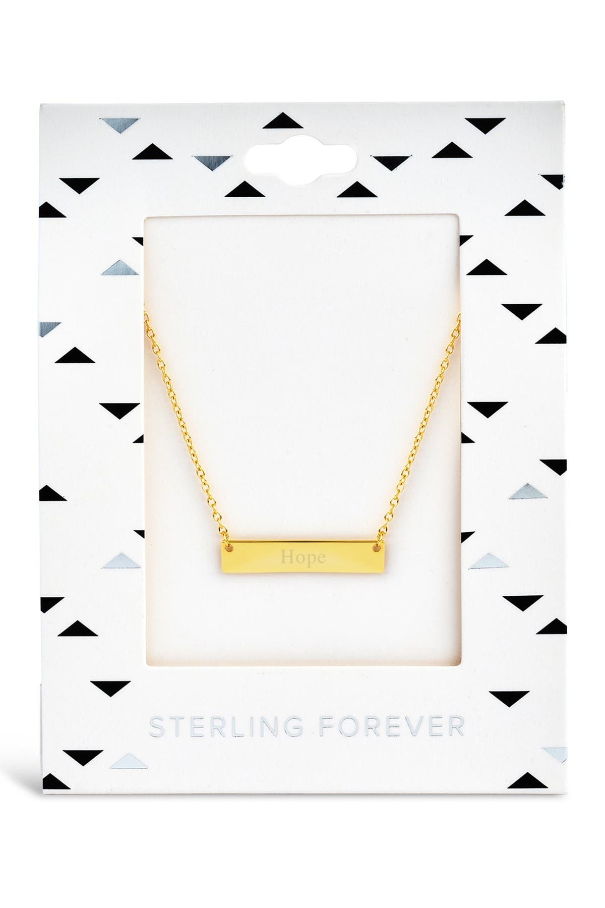 Sterling Forever 14K Yellow Gold Plated Sterling Silver Bar Pendant Necklace - Hope