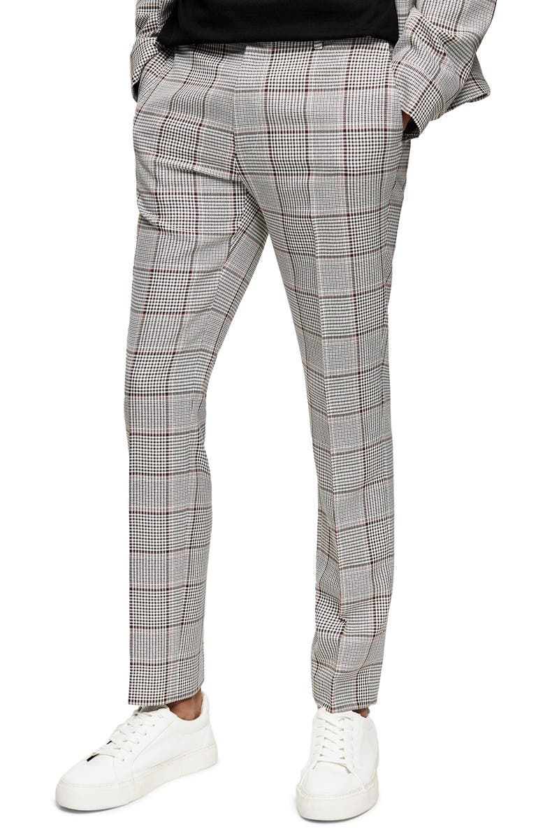 TOPMAN Mitch Plaid Skinny Fit Pants, Main, color, GREY