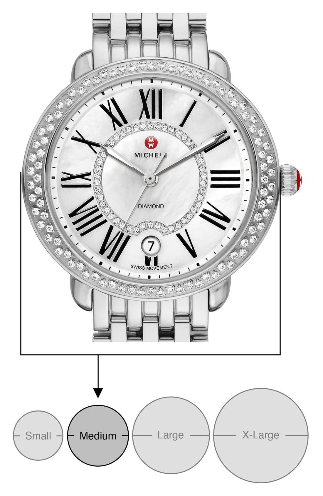 ,                             Serein 16 Diamond Watch Case, 34mm x 36mm,                             Alternate thumbnail 7, color,                             SILVER/ WHITE