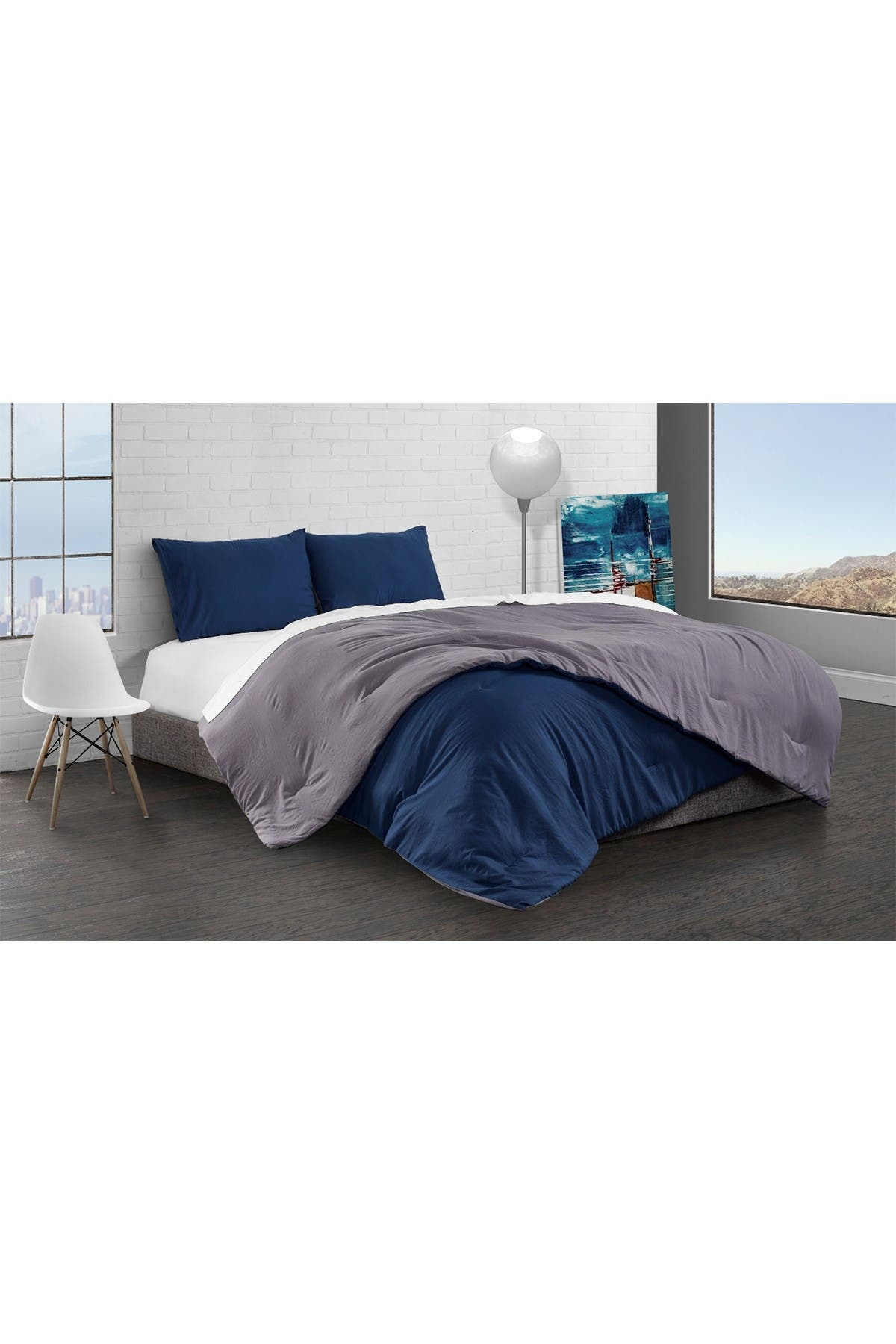 Image of Ella Jayne Reversible Brushed Microfiber Plush Down-Alt Comforter 3 Piece Set - King - Charcoal/Navy